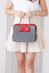 date&party bag(red×gray)    Treasure Island バッグ デコレーション
