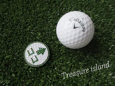 ゴルフマーカー スワロフスキー キラキラ 可愛い オシャレ ゴルフコンペ 景品 Treasure isaland ホールインワン景品